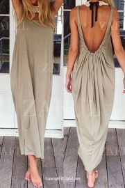 Summer casual backless dresses outfit style 57