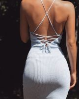 Summer casual backless dresses outfit style 96