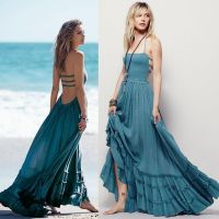 Summer casual backless dresses outfit style 97