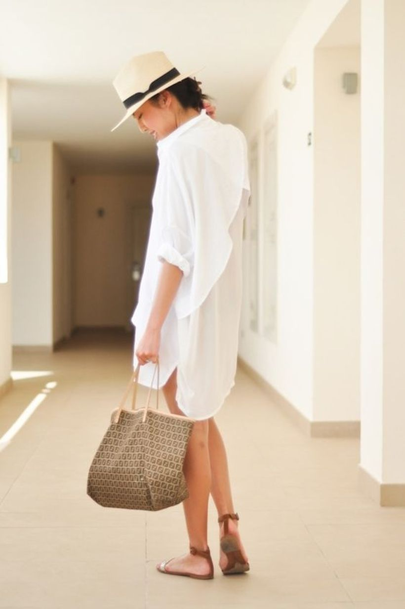 Awesome oversized white shirt outfit style ideas 10