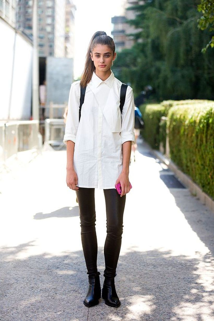 Awesome oversized white shirt outfit style ideas 38