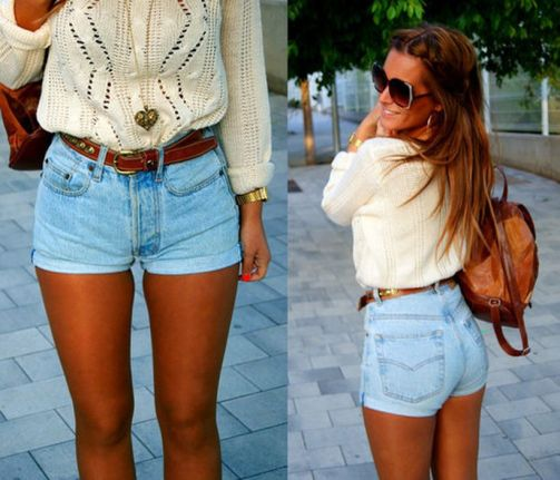 Best high waisted short denim outfits style 12