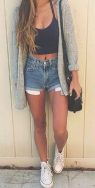 Best high waisted short denim outfits style 24