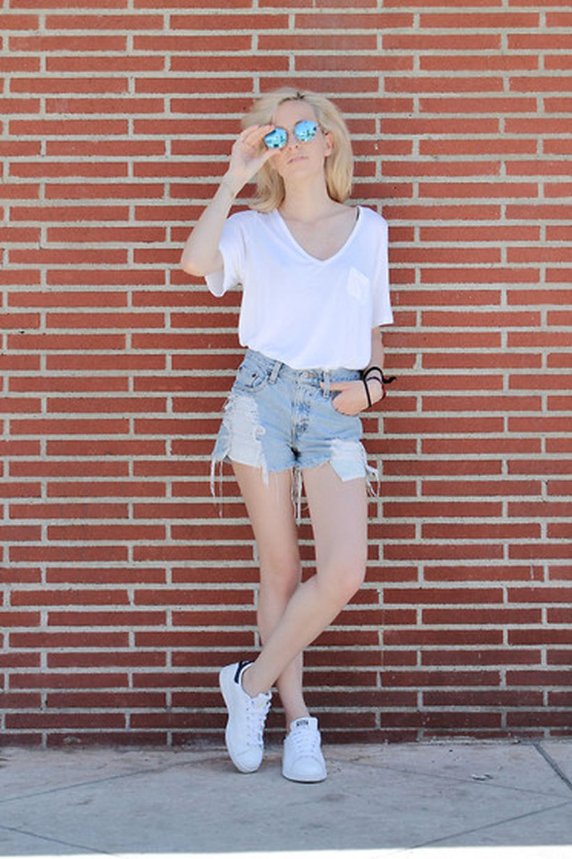 Best high waisted short denim outfits style 31