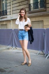 Best high waisted short denim outfits style 43