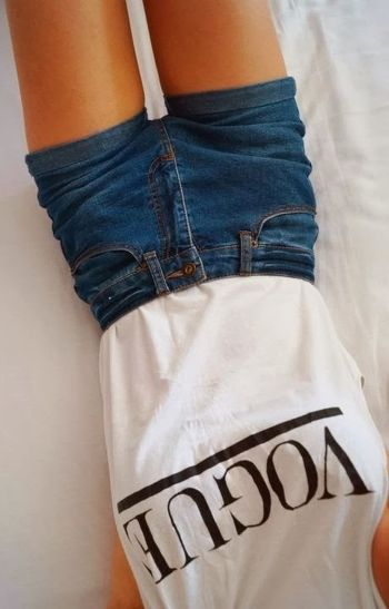 Best high waisted short denim outfits style 44
