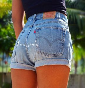 Best high waisted short denim outfits style 5
