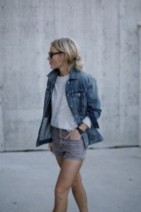 Best high waisted short denim outfits style 50