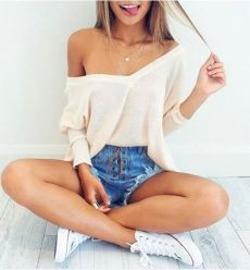 Best high waisted short denim outfits style 54