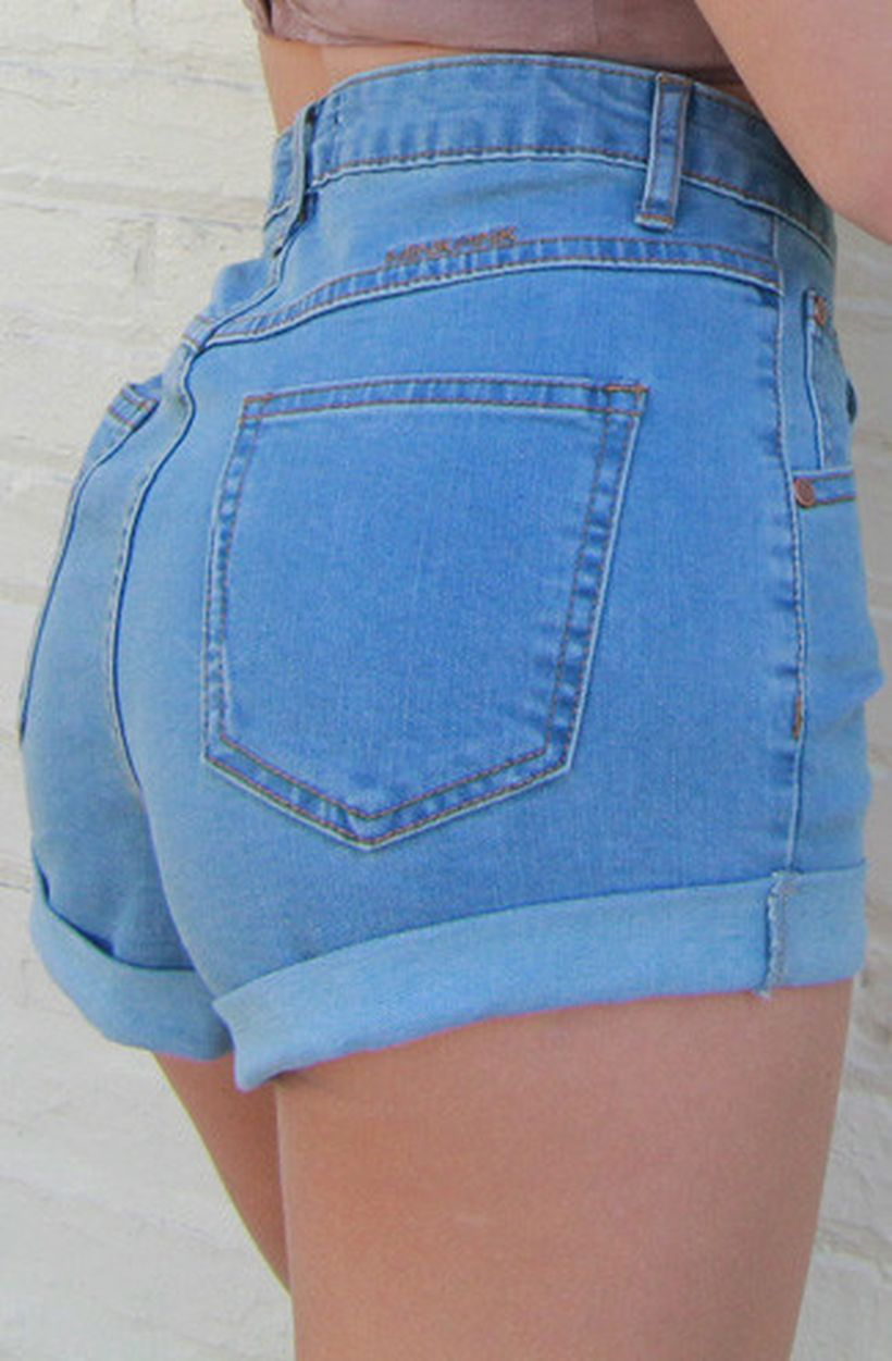 Best high waisted short denim outfits style 55