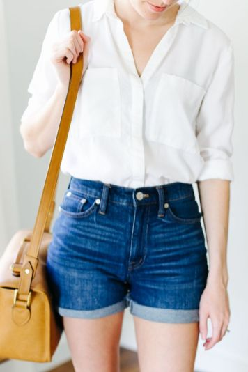 Best high waisted short denim outfits style 57