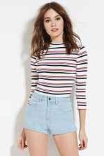 Best high waisted short denim outfits style 72