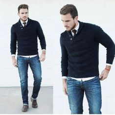 Cool men sweater outfits ideas 22