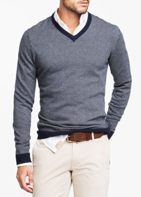 Cool men sweater outfits ideas 3