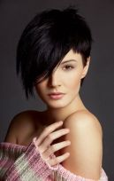 Funky short pixie haircut with long bangs ideas 36