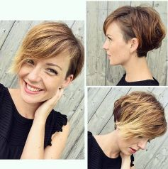 Funky short pixie haircut with long bangs ideas 4