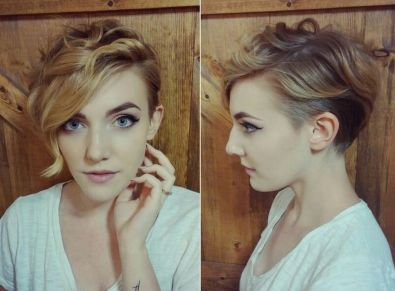 Funky short pixie haircut with long bangs ideas 53