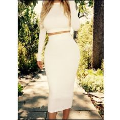 Gorgeous white two piece outfits ideas 20