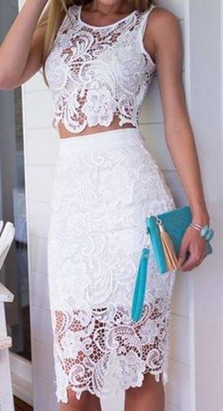 Gorgeous white two piece outfits ideas 21