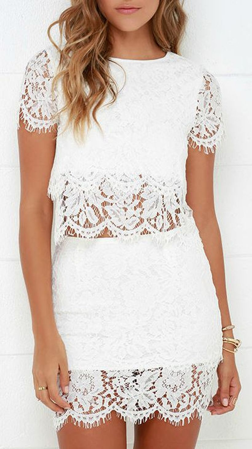 Gorgeous white two piece outfits ideas 64