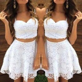 Gorgeous white two piece outfits ideas 66
