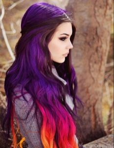 Crazy colorful hair colour ideas for long hair 182