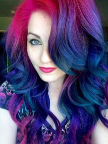 Crazy colorful hair colour ideas for long hair 61