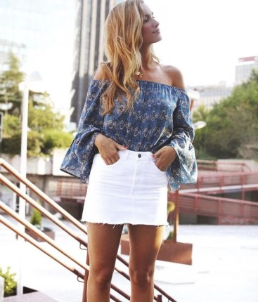 Fashionable white denim skirt outfits ideas 12