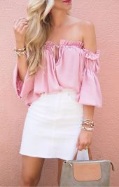 Fashionable white denim skirt outfits ideas 13