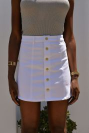 Fashionable white denim skirt outfits ideas 15