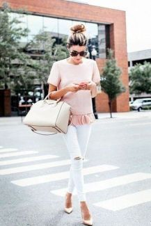 Perfect ways to wear white denim jeans outfits 30