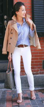 Perfect ways to wear white denim jeans outfits 33
