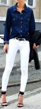 Perfect ways to wear white denim jeans outfits 38