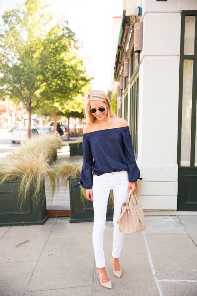Perfect ways to wear white denim jeans outfits 41