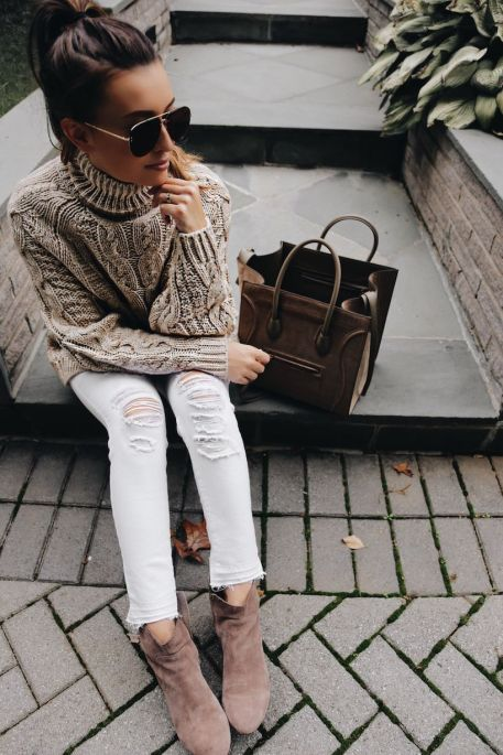Perfect ways to wear white denim jeans outfits 45