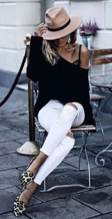 Perfect ways to wear white denim jeans outfits 8