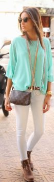 Perfect ways to wear white denim jeans outfits 82