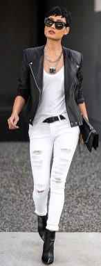 Perfect ways to wear white denim jeans outfits 87