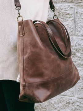 Stylish leather tote bags for work 15