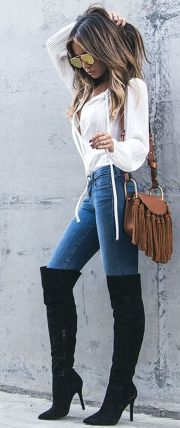 Trendy over the knee boots for winter and fall outfits 15