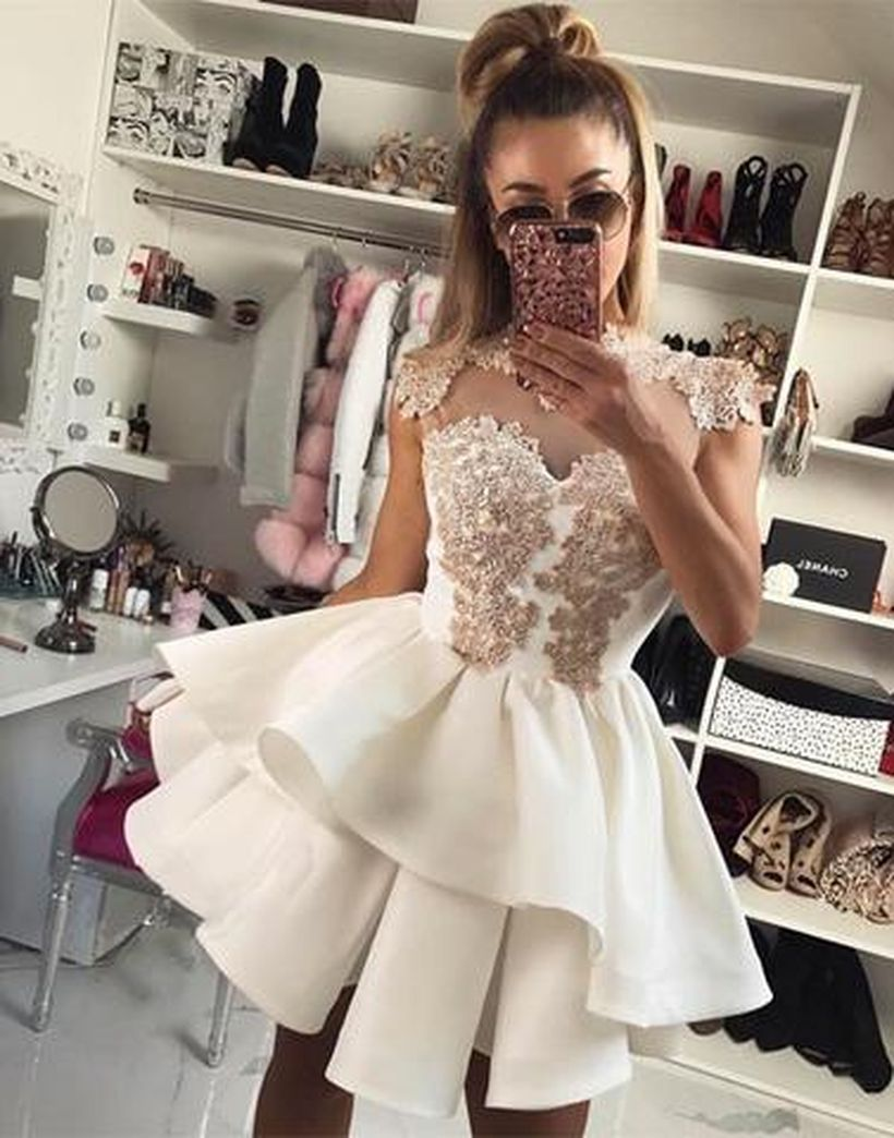 Most cute short white dresses outfits design ideas 32