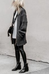 Tips how to wear cardigans and leggings in this fall 10