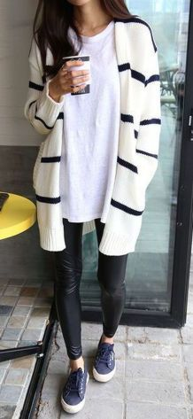 Tips how to wear cardigans and leggings in this fall 7
