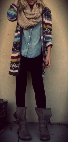 Tips how to wear cardigans and leggings in this fall 8