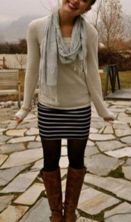 Inspiring skirt and boots combinations for fall and winter outfits 54