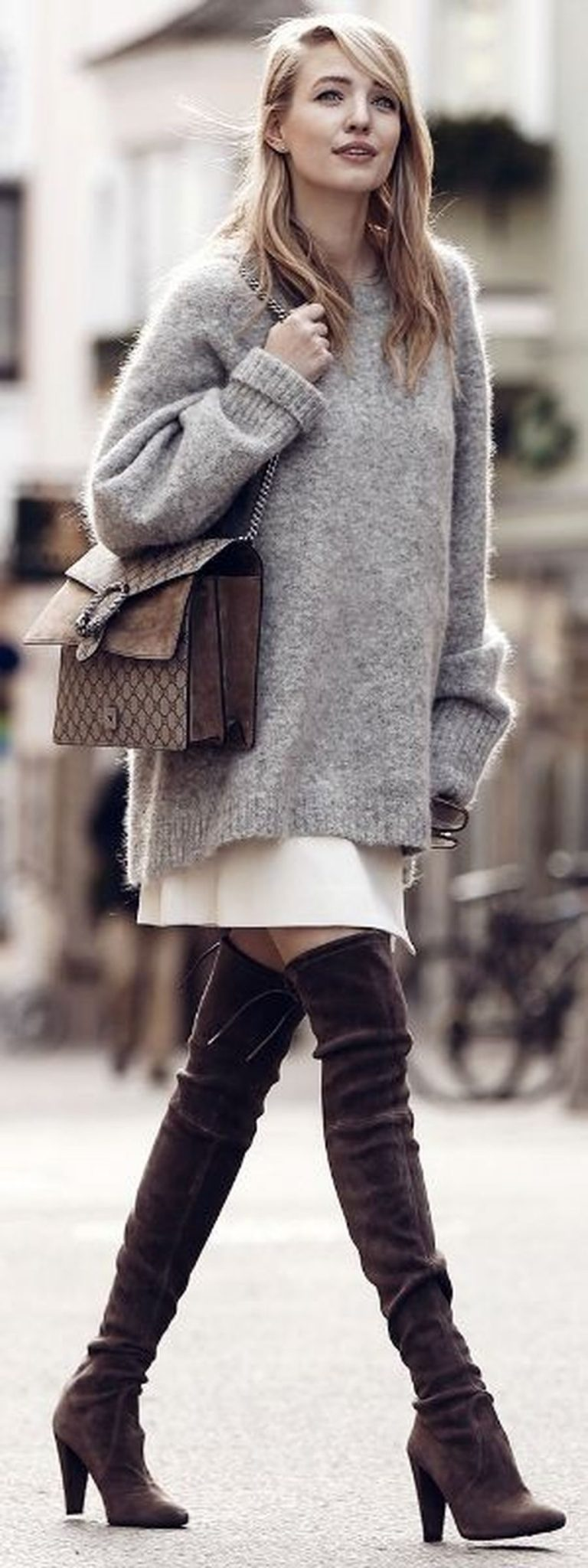 Inspiring skirt and boots combinations for fall and winter outfits 58