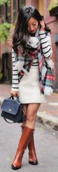 Inspiring skirt and boots combinations for fall and winter outfits 69