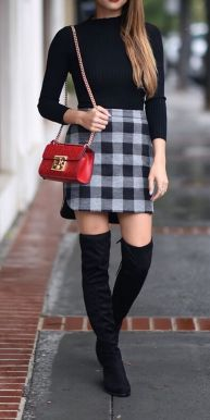 Inspiring skirt and boots combinations for fall and winter outfits 70