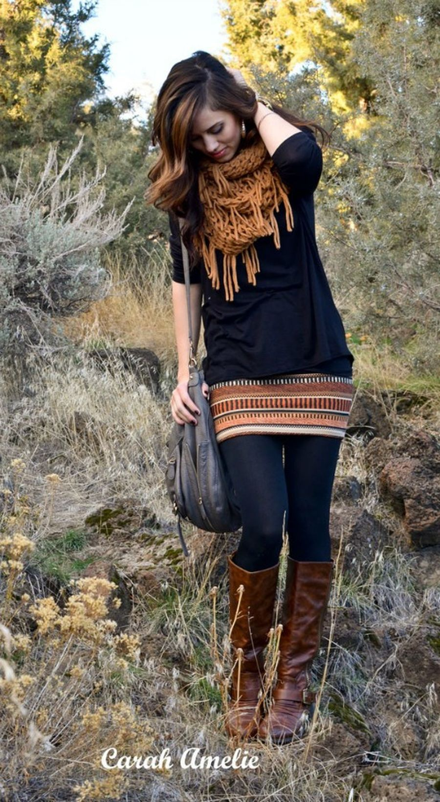 Inspiring skirt and boots combinations for fall and winter outfits 82