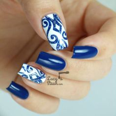 Sweet Blue Nails Ideas that Make Cool and Calm Appearance 36